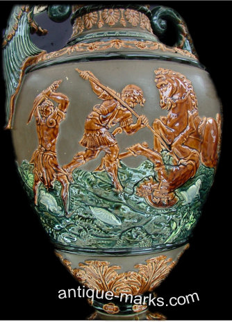 Antiques Collection - Close up of Gerbing & Stephan Majolica Vase Decoration