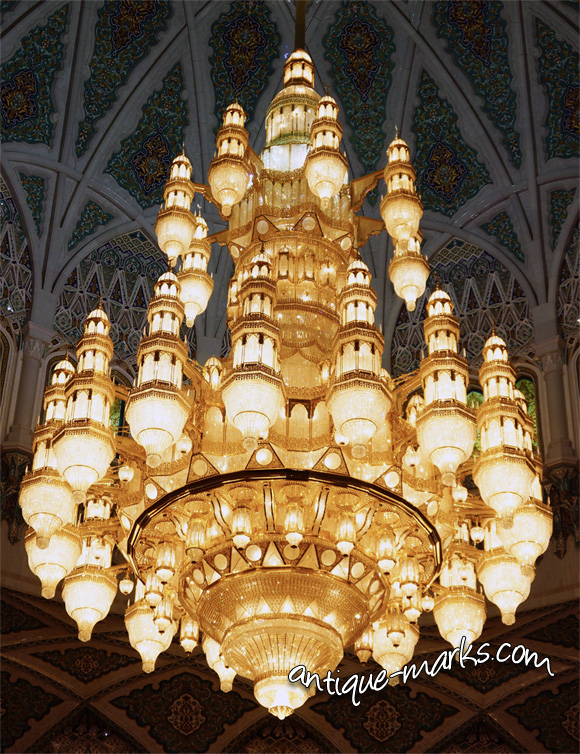 Swarovski Crystal Chandelier in Sultan Qaboos Grand Mosque in Muscat Oman