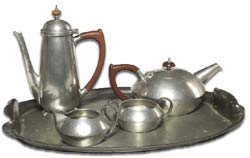art nouveau liberty style pewter tea service