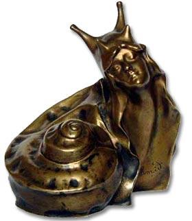 Art Nouveau symbolist bronze by H Schmid