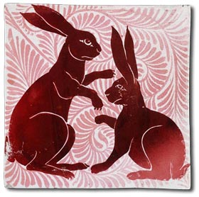 arts and crafts hare tile by william de morgan c1872