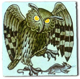 Williiam de Morgan owl and mouse tile c1895