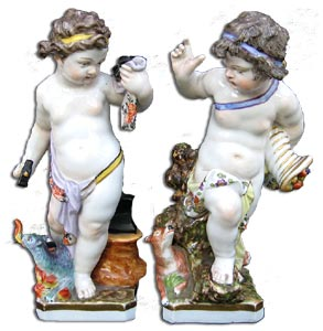 Berlin Porcelain pair of cherub figures