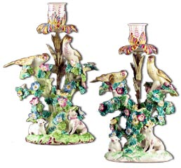 Pair Bow Porcelain Candlesticks