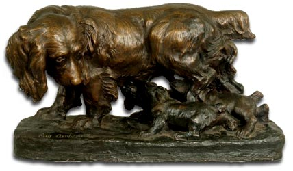 bronze cartier spaniel and pups