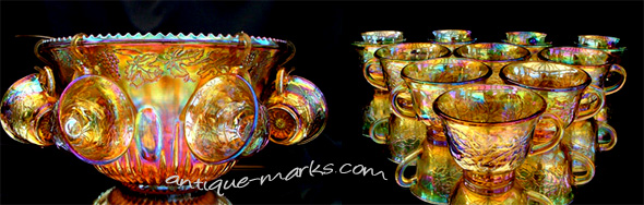 Antique Carnival Glass Punch Set
