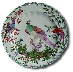 chelsea porcelain - bird and foliage decorated cabinet plate