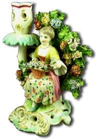 chelsea porcelain bocage figural candle stick