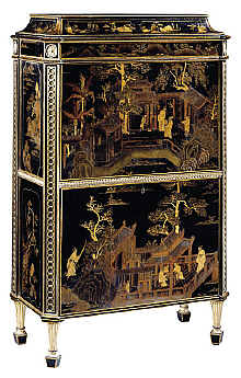 antique terms L - Chippendale Chinese lacquer secretaire c1773