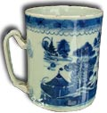 chinese blue and white tankard - underglazed decoration