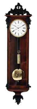 Biedermeier eight day single train walnut Vienna regulator. One piece enamel dial with gilt pie crust surround signed H Becker, Wien. Classic design. Circa 1845.