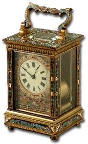 antique marks glossary - carriage clock in champleve enamels