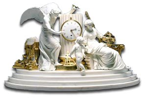 antique marks glossary -  vulliamy clock using derby porcelain figures