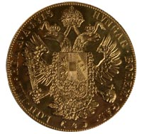 Gold Austrian Four Ducat Coin for Francis I - Reverse
