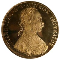 Gold Austrian Four Ducat with Francis I - Obverse
