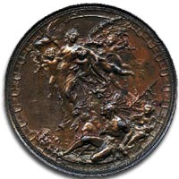 Christopher Columbus medal, 1892, by Johnson - Reverse
