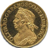 Obverse side of gold Oliver Cromwell Half Crown c1658