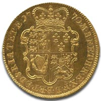 George III Five Guinea gold coin