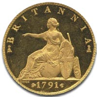 George III, Gold Halfpenny c1791 - Reverse