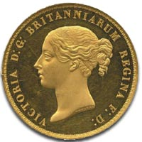 Victoria, five pounds, 1839 Una and the Lion - Obverse