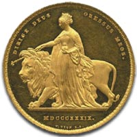 Victoria, five pounds, 1839 Una and the Lion - Reverse