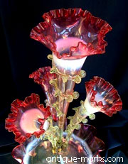 Victorian Cranberry Glass Epergne - 4 part floriform