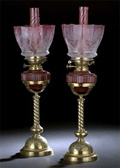 Antique Cranberry Glass Oil Lamps