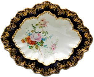A handpainted derby dish by albert gregory