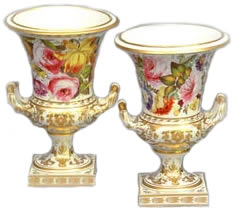 pair of Derby Porcelain botanical twin-handled vases by William Pegg