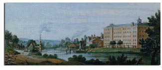 Mr Strutt's Cotton Mill at Milford 1787. Water Colour by Zachariah Boreman - Derby Artists and Royal Crown derby from antique-marks.com