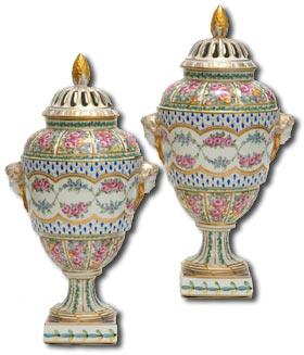 Dresden Porcelain Pot Pourri Vases