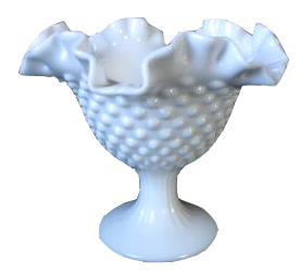 Fenton Hobnail Glass Candle Holder