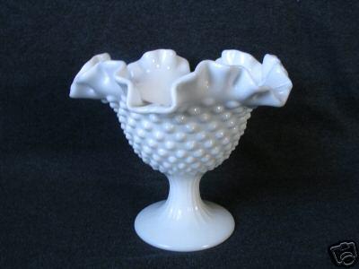 Fenton hobnail glass candle holder