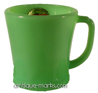 Jadeite Fire King Glass Mug with label