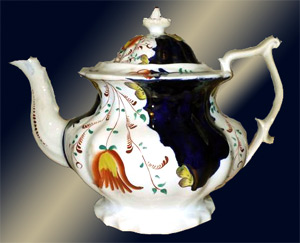 Gaudy Welsh Pottery - Tulip Pattern Teapot