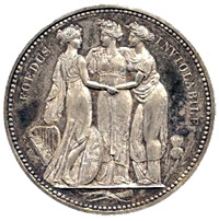W Wyon George III Silver Crown 1817 - The Three Graces