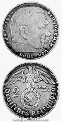 German Reich Coin 1934 with Swastika