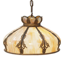Arts and Crafts Chandelier with panelled glass shade