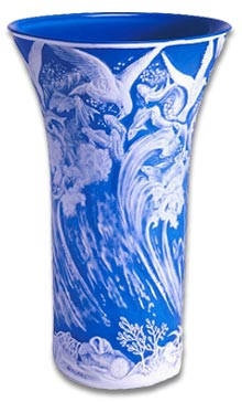 Stunning modern cameo glass vase