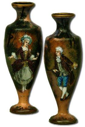 Pair Limoges Porcelain Enamel Vases