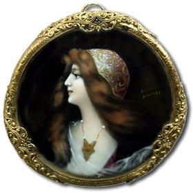 limoges enamels antique miniature portrait