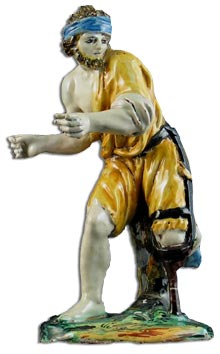 antique marks - tin glaze maiollica beggar figure