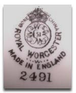 Royal Worcester Marks - W mark 1956