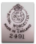 Royal Worcester Marks - W mark 1956
