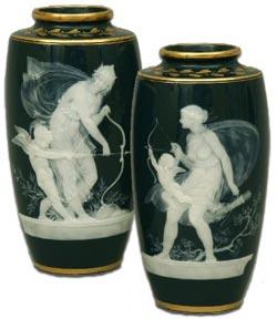 Minton Pair Pate-sur-Pate Vases