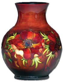 william moorcroft pottery - anemone flambe vase