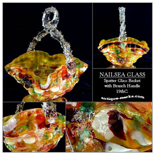 Antique Nailsea Glassworks Spatter Glass Basket