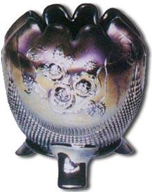 Northwood carnival glass rose purple vase - antique-marks.com