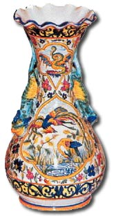 quimper faience vase c1910 marked H R Quimper
