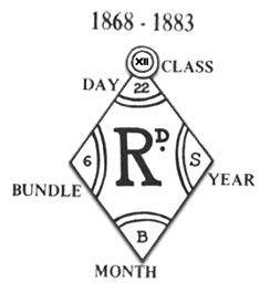 british design registration mark used 1868 to 1883